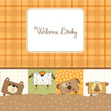 Baby shower card with funny  animals Stock Images