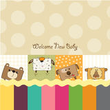 Baby shower card with funny animals Stock Image