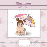 Baby shower card with funny girl Stock Image
