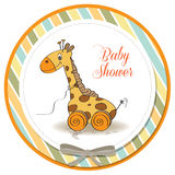 Baby shower card with giraffe toy Stock Image
