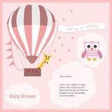 Baby shower card girl,air balloon with owl Stock Images