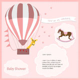 Baby shower card girl,air balloon with rocking horse Stock Photos