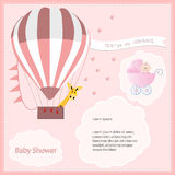 Baby shower card girl,air balloon with stroller Royalty Free Stock Image