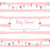 Baby shower card for girl, pink pastel tones, geometrical ornament with frame for your text . Stock Photos
