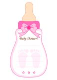Baby shower card for girls. Baby shower card for girl. feeding bottle shaped invitation card Royalty Free Stock Photography