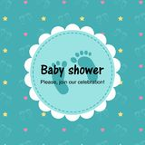 Baby shower card on green background vector illustration