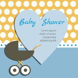Baby Shower Card. Heart with Invitation and Pram on the Polka Do Stock Image