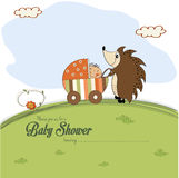 Baby shower card with a hedgehog that pushes a stroller with bab Stock Photo