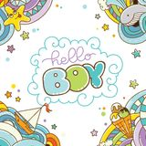 Baby shower card, Hello Boy Royalty Free Stock Photo