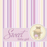 baby shower card with hippo toy Stock Image