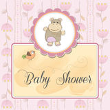 baby shower card with hippo toy Stock Photo