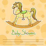 Baby Shower card with horse toy Royalty Free Stock Photography