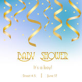 Baby shower card, invitation design template. It`s a boy party with golden streamers and confetti Royalty Free Stock Photos