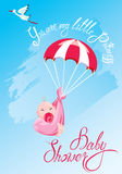 Baby shower, card, invitation, etc. Stork, parachute with girl,. Baby shower, card, invitation. Stork, parachute with girl, calligraphic text You are my little Royalty Free Stock Images
