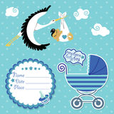 Baby shower card,invitation,scrapbook with stork a Royalty Free Stock Photo