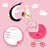 Baby shower card,invitation,scrapbook with stork a Royalty Free Stock Image