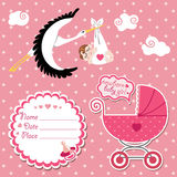 Baby shower card,invitation,scrapbook with stork a Stock Images