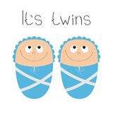 Baby shower card. Its twins boy. Cute cartoon character.   Royalty Free Stock Photography