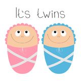 Baby shower card. Its twins. Boy girl. Cute cartoon character set. Funny head looking up. Smiling face with eyes, nose, mouth smil Royalty Free Stock Photography