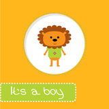 Baby shower card with lion. Its a boy Stock Photography