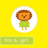 Baby shower card with lion. Its a girl Royalty Free Stock Image