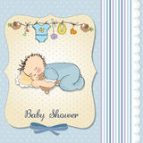Baby shower card with little baby boy sleep Royalty Free Stock Photos