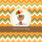 Baby shower card with little bird Stock Images