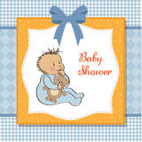 Baby shower card with little boy Stock Photography