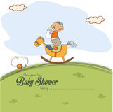 Baby shower card with little boy Stock Image
