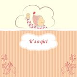 Baby shower card with little girl sleep Royalty Free Stock Photography