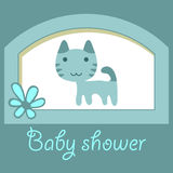 Baby shower card with little kitty Stock Photography