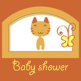 Baby shower card with little kitty Stock Images