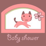 Baby shower card with little kitty Royalty Free Stock Photo