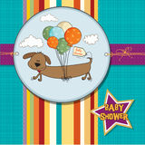 Baby shower card with long dog Royalty Free Stock Photos