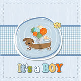 Baby shower card with long dog Stock Photos
