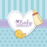 Baby shower card with milk bottle stock illustration