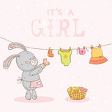 Baby Shower Card with Mommy Bunny Royalty Free Stock Photography