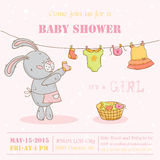 Baby Shower Card with Mommy Bunny Royalty Free Stock Image