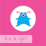 Baby shower card with monster. Its a girl Stock Photos