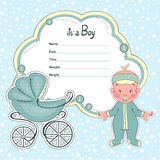 Baby shower card for newborn boy with a sidecar. Baby shower card for a newborn boy with a sidecar Royalty Free Stock Photo