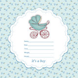 Baby shower card newborn boy with a stroller Stock Images