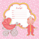 Baby shower card newborn girl with stroller Royalty Free Stock Photography