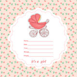 Baby shower card newborn girl with a stroller Stock Photos