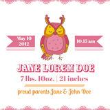 Baby Shower Card - Owl Theme Stock Images