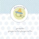 Baby shower card with pacifier. Baby boy  shower card with pacifier Stock Image