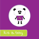 Baby shower card with panda. Its a boy Royalty Free Stock Images