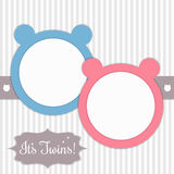 Baby Shower Card With Pink And Blue Bears And Background Made Of Delicate Stripes Stock Photography