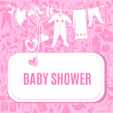 Baby shower card in pink color Stock Image