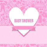 Baby shower card in pink color Royalty Free Stock Photo