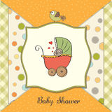 baby shower card with pram Royalty Free Stock Photos